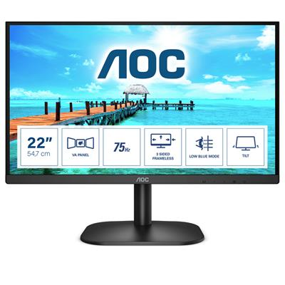 AOC 21.5IN LCD 1920X1080 16:9 4MS   22B2H/EU 3000:1 VGA/HDMI