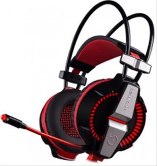 Auriculares Gaming Hiditec Ikos Rojo/Negro