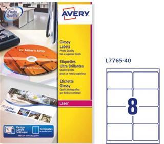 Etiquetas Avery Glossy para impresora láser color