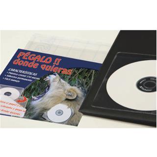 CAJA 100 FUNDAS ADHESIVAS CD/DVD PVC CRISTAL 100 ...