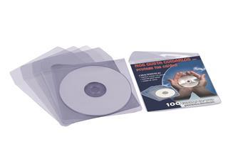CAJA 100 FUNDAS PVC CRISTAL CD/DVD 125x125MM + ...