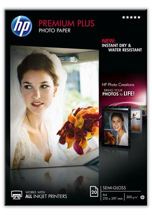 HP PREMIUM PLUS PHOTO PAPER        SEMI-GLOSS 20 ...