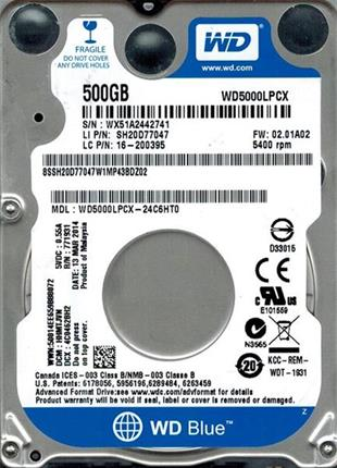 Disco duro WD BLUE 500GB SATA III 5400RPM 16MB 7mm 2.5""