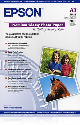 Papel para fotos Epson A3 glossy premium 20H
