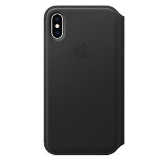 Funda de Piel Folio iPhone XS Negro