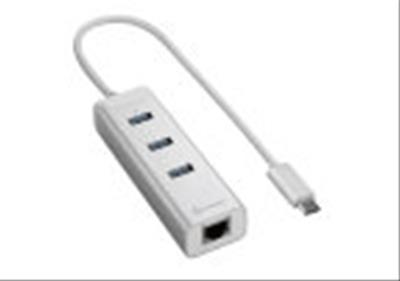 HUB USB SHARKOON 3X3.0 RJ45 ALUMINIO PLATA TIPO C