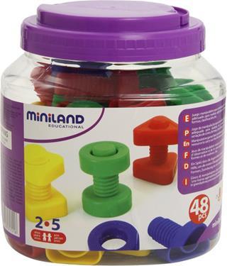Juego Miniland tornillos y tuercas plástico 48 ...