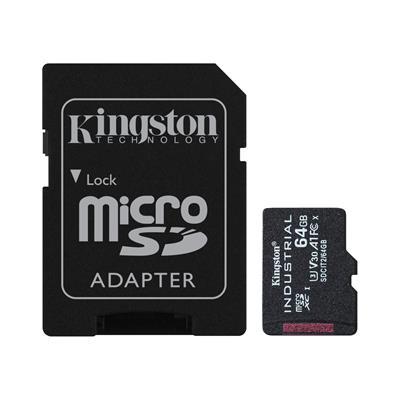 KINGSTON 64GB MICROSDXC INDUSTRIAL C10 A1 PSLC ...