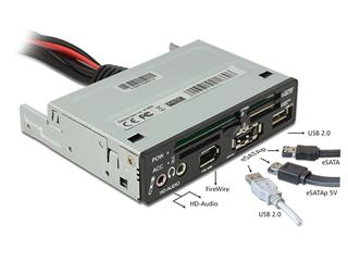 "LECTOR TARJETAS INTERNO 3.5"" FLASH+USB2.0+FireWire+AUDIO DLOCK"