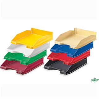 PACK DE 10. BANDEJA APILABLE DE PLASTICO 350X250X65 MM.COLOR ROJ
