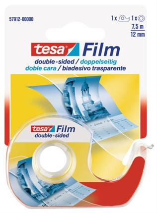PACK DE 10. CINTA DE DOBLE CARA CON DISPENSADOR 12MM.X7.5M.TRANS