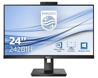 MONITOR LED 23.8' PHILIPS 242B1H FHD IPS WEBCAM VGA/HDMI/DP/DVID REG.ALTURA