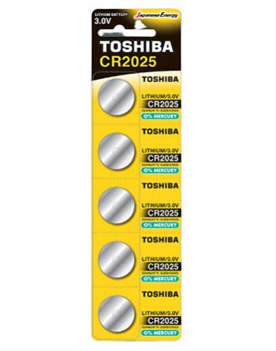 PILA TOSHIBA CR2025 3V LITHIUM BATTERY 5 UNI