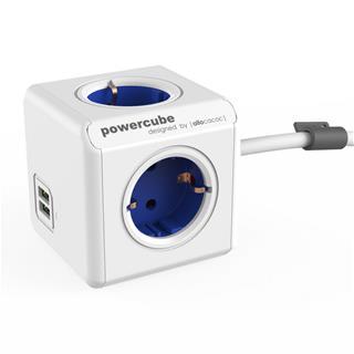 PowerCube Ext 2USB Blue 1.5m 4outlet