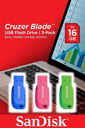 Sandisk Cruzer Blade USB Flash Drive 3pack 16GB
