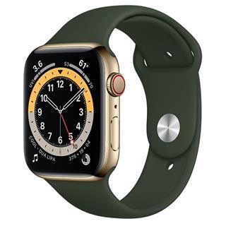 Smartwatch Apple Watch Series 6 GPS + Cellular 44mm Acero Inoxidable en Oro Correa Deportiva Verde Chipre