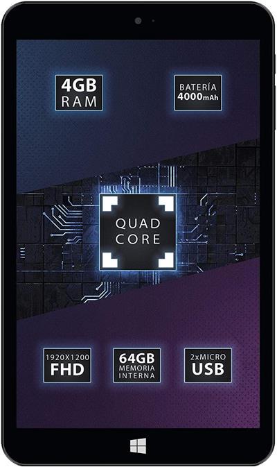 """Tablet Talius Zaphyr 8005W Atom Z8350 4GB 64GB 8"""" W10 Negro"""