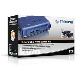 TRENDNET 2 PORT USB KVM SWITCH KIT       (INCLUDE 2 X KVM CABLES