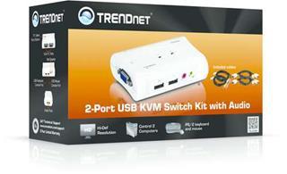 TRENDNET 2 PORT USB KVM SWITCH KIT       W. AUDIO INCLUDE 2 X KV