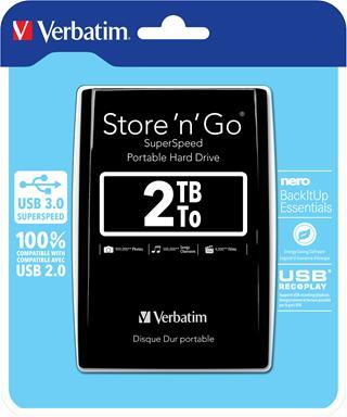 Verbatim 2TB HDD 2 5 USB 3.0 STORE  N GO  BK