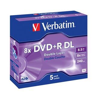 VERBATIM DVD+R DL 8X 5PZ JEWEL CASE      8.5GB / 2