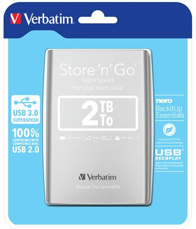 Verbatim Store n Go 2.5      2TB USB 3.0 silver